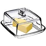 KADAX Butterdose aus Glas, rechteckige Butterglocke, klare...