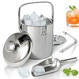 Amazy Edelstahl Eisbehälter mit Deckel inkl. Zange, Eisschaufel und...