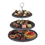 Relaxdays Etagere, 3 Etagen, Schiefer, Kuchen, Snacks, Obst,...