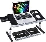 NEARPOW Laptop Bett Tisch PVC Leder Laptop Schreibtisch mit Schublade...
