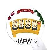 Traditionelles japanisches Sushi-Set Rundgummi Maus Pad Weihnachtsbaum...