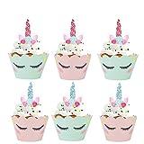 Konsait Kuchenaufsätze Einhorn Mini Cupcake Toppers und Wrappers...