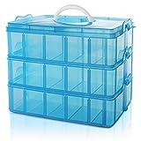 BELLE VOUS 3-stöckige Aufbewahrungsbox Plastik Stapelbar Blau -...