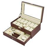 Uhrenbox für Herren, 12 Fächer, Schmuckkästchen, Schmuckschatulle,...