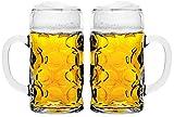 2er Set Maßkrug 1L geeicht Bierkrug Bierglas Glas Glaskrug Maßkrüge...