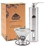 ABNOBACOFFEE Kaffee-Set | Handkaffeemühle mit Keramikmahlwerk...