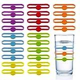 Chingde Glas Markierungen, 24 Stück Wein Marker Silikon Glasmarker...