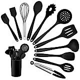 Homikit Silikon Küchenhelfer Set, 12 Stück Schwarz Kochutensilien...