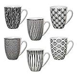 6er Set XXL Kaffeebecher Tasse NIILO Landhaus schwarz / weiß Keramik...