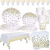 Weiß und Gold Partygeschirr 99 Stück Golden Dot Partyteller Set...