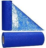 AmaCasa Vlies Tischläufer Blau 23cm/20 Meter Flower Vlies Tischband...