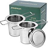 HAUSPROFI 2 Stück Teesieb Teefilter und Deckel/Abtropfschale, 304...