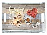 Lashuma Kunststoff Serviertablett 38x27 cm, Buntes Partytablett Motiv:...