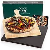 DOLCE MARE Pizzastein Schwarz - Pizza Stein aus hochwertigem Cordierit...
