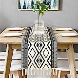 Bateruni Geometrisch Tischläufer, Grau Modern Schwarz Weiß...