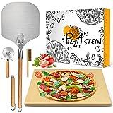 MIBOTE 6 Pcs Pizzastein aus Cordierit für knusprigen Set Backofen &...