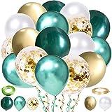 60 Stück Luftballons Grün White Gold Ballons, Metallischen Grüne...