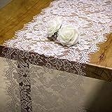RUSPEPA Tischläufer Weiße Spitze – Vintage Spitze Weiß Stoff...