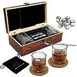 Whisky Steine Geschenkset – 6 Edelstahl Whisky Eiswürfel...