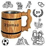 Bier Geschenk personalisiert - Holz Bierkrug mit Edelstahl Becher 0,5...