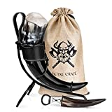 VIKING CRAFT® Trinkhorn Wikinger ca. 450ml - Extra Großes 5-teiliges...