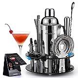 20 Teiliges Geschenkset Cocktail Set Shaker mit 360° Drehbarem Acryl...