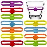 BOSSTER Trinken Marker 12 stück Glasmarkierer Silikon Bunte Bierglas...
