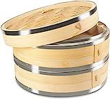 KYONANO Dampfgarer Bambus, 2 Etagen Bambusdämpfer 24cm mit Deckel + 2...