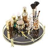 Zosenley Make-up-Organizer-Tablett, dekoratives Glas, runde...