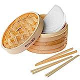 Bambusdämpfer 25cm mit 2 Etagen (2 Bambus Dampfkörbe mit Deckel)...