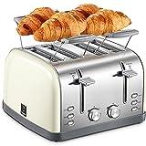Yabano Toaster 4 Scheiben, Brötchenaufsatz, 7 Bräunungsstufen,...