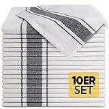 Loco Bird 10er Set Geschirrtücher aus Baumwolle - 45x75cm grau weiß...