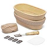 Brot Gärkörbchen Oval 2er Set,10 Zoll Gärkorb Brotteig Banneton aus...