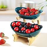 LIBWYS Obst Etagere Keramik 2 Stöckig Porzellan Obstteller 2 Etagen...