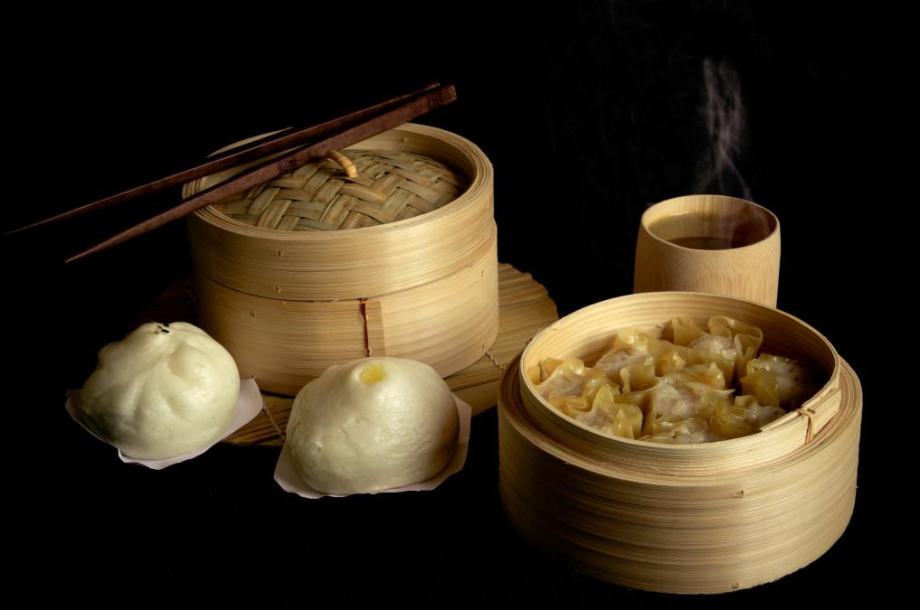 asiatische Dampfgartöpfe aus Bambus